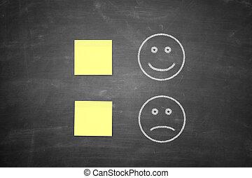 face sorridente, positivo, e, negativo, realimentação