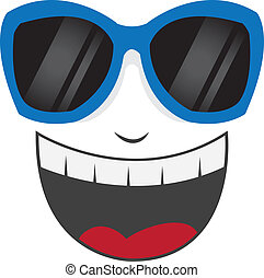 Isolated face with blue sunglasses laughing