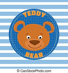 Face teddy bear brown vector illustration