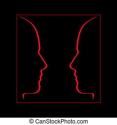 Face to face, communication, conversation - Red on black.
