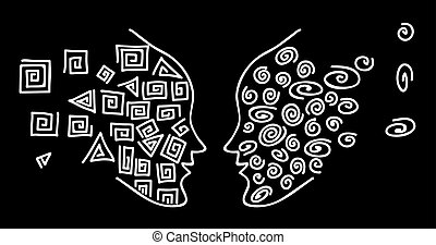 Face-to-face. Drawing a white line to face the silhouette of a human head on a black background.