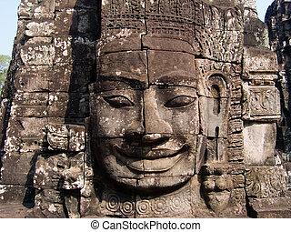 Face Carving on Tower at Bayon Temple, Angkor Thom, Angkor, Cambodia