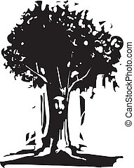 Face Tree Spirit - Woodcut style image of tree with a face...