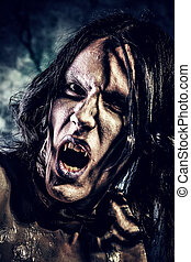 face vampire - Close-up portrait of a gloomy vampire ...