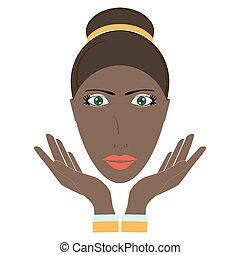 face., vecteur, beauté, illustration, femme