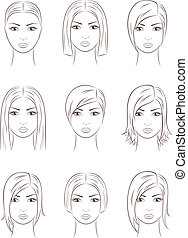 Face - Vector illustration of female faces. Different...