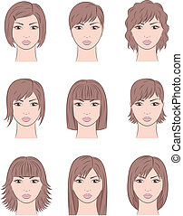 Vector illustration of female faces. Different hairstyles