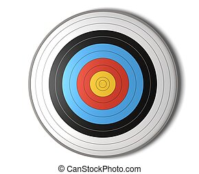 face view of an archery target over a white background with ...