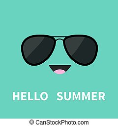 Face with black pilot sunglassess. Happy emotion. Cute cartoon funny smiling character. Hello summer. Green background. Isolated. Flat design