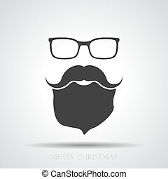 face with glasses, mustaches and beard