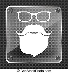 face with glasses, mustaches and beard on metallic background