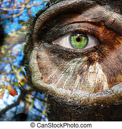 Face with green eye and painted tree trunk