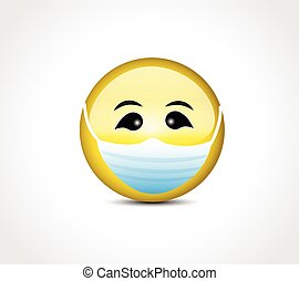 Face with mask protection for COVID 19 emoticon