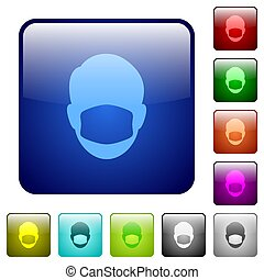 Face with medical mask color square buttons
