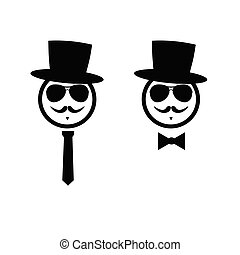 face with mustache black vector silhouette