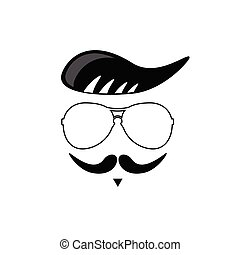 face with mustache cartoon vector