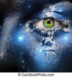 Face with seven sisters constellation and a Celtic cross -...