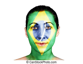 Face with the Brazil flag