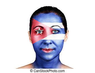 Face with the Cuba flag