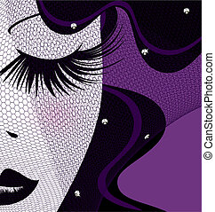 face with veil - abstract outlines woman's face and black...