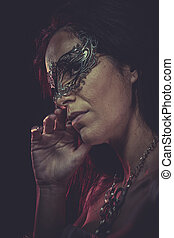 Face Woman mask, sensual lady with venetian and gothic style