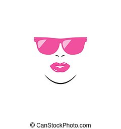 face woman with sunglasses vector illustration design