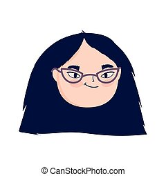 face young woman with eyeglasses female character isolatd icon