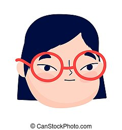 face young woman with glasses female character isolatd icon