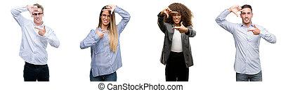 face., zakelijk, concept., mannen, creativiteit, vingers, vrouwen, fotografie, handen, vervaardiging, het glimlachen, team, frame, vrolijke