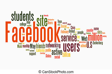 facebook, 単語, 雲