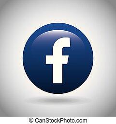 facebook, klassisch, emblem, ikone