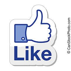 facebook, lik, den, knapp