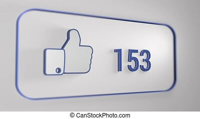 Facebook like animation made by 3D effect, count from 0 to...