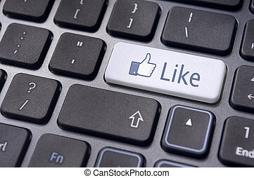Facebook like on enter keyboard for social media concepts.
