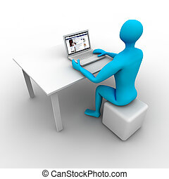 facebook - 3d man seated is navigating social networks.