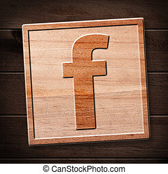facebook wooden icon - facebook icon on wood.