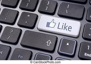 facebook, zoals, concepten, met, gaan sleutel in, op,...