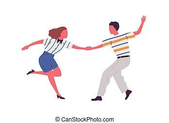 Faceless artistic pair holding hands, dancing lindy hop ...