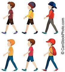 Faceless boys walking - Template of the faceless boys...