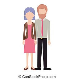 faceless couple colorful silhouette and her with blouse and jacket and skirt and heel shoes with short straight hairstyle and him with shirt and tie and pants and shoes with short hair and bearded