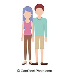 faceless couple colorful silhouette and her with t-shirt sleeveless and pants and heel shoes with long straight hair and him with sweater and short pants and shoes with short hair