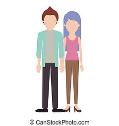 faceless couple colorful silhouette and him with shirt and jacket and pants and shoes with short hair and her with t-shirt sleeveless and pants and heel shoes with long straight hair