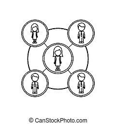 faceless, esquemático, trabajando, grupos, monocromo,...