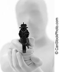 faceless, fucile, uomo