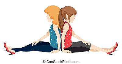 Faceless girls sitting back to back