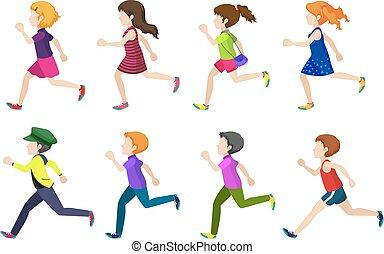 Faceless group of kids running
