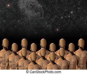 Faceless group under night sky. 3D rendering