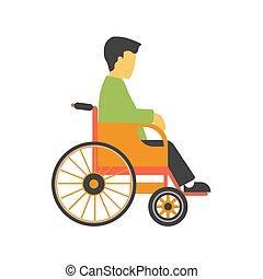 faceless, incapacitado, cadeira rodas, isolado, pessoa, vetorial, fundo, branca