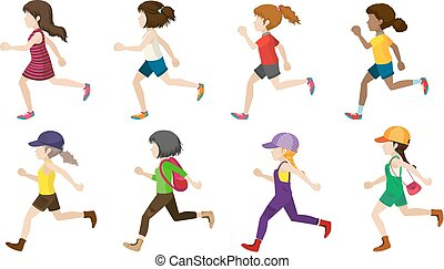 Faceless kids jogging
