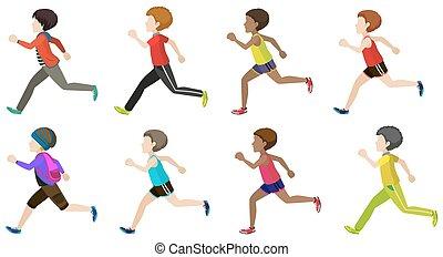 Faceless kids running on a white background